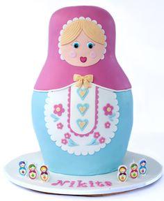 Babushka Doll Birthday Cake. Cute candles also
