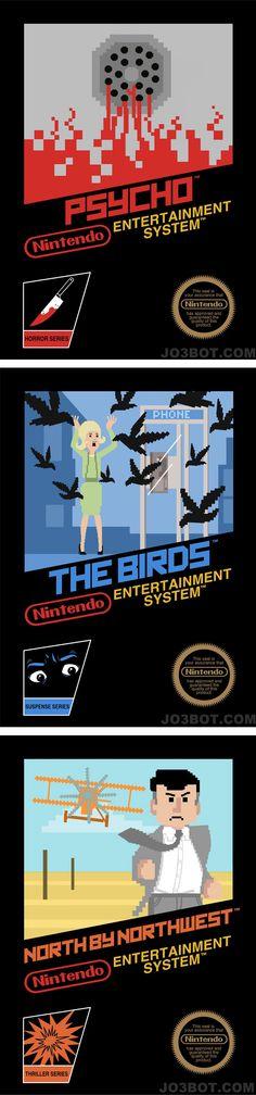 Version des principaux films d'Alfred Hitchcock  exposée avec un style pixel art des années 80 en présentant ces films comme s'ils étaient des jeux vidéo.