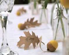 stationery place and table cards Wedding Place Cards, Yellow Spring Acorn and Oak Leaf Favors 10 Rustic Woodland Fairytale Classic