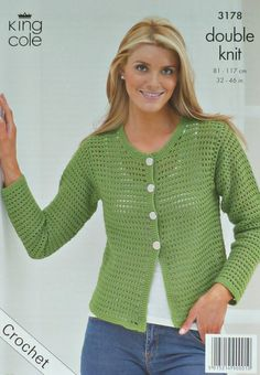 Crochet pattern for Ladies Long Sleeve Round Neck Cardigan in DK by King Cole (No. 3178). Also includes instructions for Ladies Long Bell