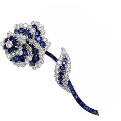 Preowned Van Cleef & Arpels Diamond Sapphire Platinum Floral Brooch... (67,165 CAD) ❤ liked on Polyvore featuring jewelry, brooches, blue, vintage brooch, vintage flower brooch, flower brooch, vintage pins brooches and blue diamond jewelry
