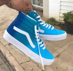 Blue Vans Custom Sneaker- - Source by women shoes Sneakers Mode, Custom Sneakers, Custom Shoes, Sneakers Fashion, Vans Custom, Blue Sneakers Outfit, Sneakers Workout, Casual Sneakers, Nike Air Shoes