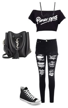 """""""Untitled #456"""" by dinka1-749 ❤ liked on Polyvore featuring Glamorous, Converse and Yves Saint Laurent"""