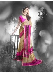 Cream and Pink Georgette Printed Saree