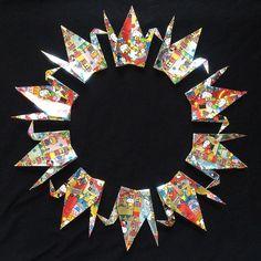 "100 6"" Hello Kitty Pattern Foil Origami Cranes"