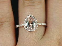 Tabitha 14kt Rose Gold Thin Pear Morganite Halo by RosadosBox $873.02 >> Okay, at this point I'm almost positive I'd rather Morganite over a diamond. LOVE! (Would also be amazing in white gold with Moissanite stone!)