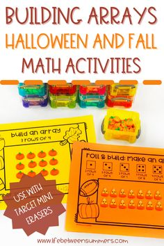 These fun hands-on Halloween math games are perfect for practicing arrays, repeating addition, and multiplication. It is perfect for use with Target mini erasers. This multiplication math game can be played during math workshop, guided math, or math centers. This fall themed math game is great for partners or small groups. Students practice their math facts and building arrays with these different math activities.