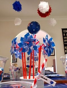 Australia day on pinterest patriotic wreath pom pom for Australia day decoration