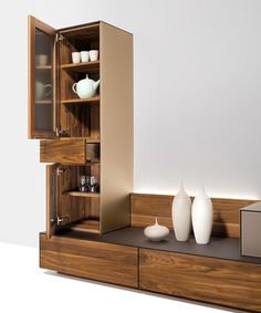 cubus pure wall unit with walnut drawers