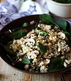 Mushroom and Spinach Cauliflower Pilau
