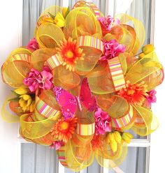 mesh wreaths | Mesh Wreath Spring Summer Orange Lime Pink by SouthernCharmWreaths