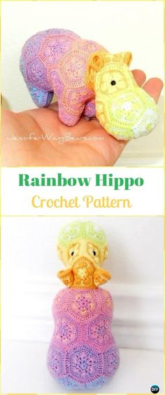 Crochet Amigurumi African Flower Rainbow Hippo Pattern - Amigurumi Crochet Hippo Toy Softies Patterns