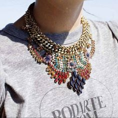 necklace. printed tee.