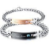 "KONOV Jewelry Cubic Zirconia Stainless Steel Mens Womens Couples Love Bracelet Set, ""True Love"",2pcs, Valentines Day Gift, Black Silver - http://tonysgifts.net/2015/02/05/konov-jewelry-cubic-zirconia-stainless-steel-mens-womens-couples-love-bracelet-set-true-love2pcs-valentines-day-gift-black-silver/"
