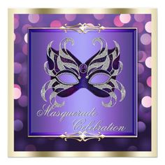 Elegant Purple Shimmering Lights Bokeh Masquerade Personalized Announcements