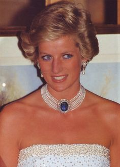 Princess Diana had this spectacular pearl choker made with the Sapphire and Diamond brooch that was given to her from HRH Queen Elizabeth as a wedding present.