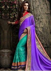 Purple and Sea Green Satin Designer Half and Half Saree