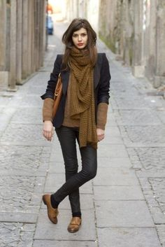 Adore this combination of a black blazer, olive green scarf, brown sweater, black denim and brown Oxford shoes.