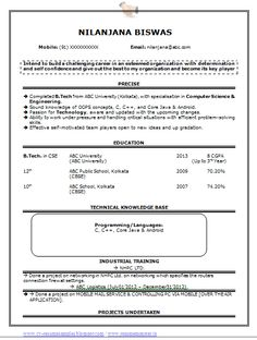 Computer Science Engineering Resume  HttpTopresumeInfo