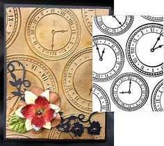 I HAVE THIS...I LIKE THE DISTRESSED LOOK!  Heritage Antique Retirement Embossing Folder Darice Clock Background | eBay
