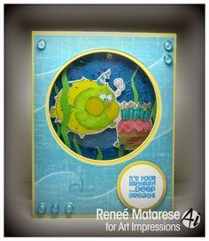 (shaker window card) Art Impressions Zoo Crew Deep Breath Birthday (Sku#4471) Handmade fish with cake birthday card.  It's your birthday... deep breath!