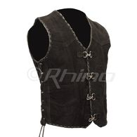 Suede Vest with Metal Clasps and Black Leather Braiding