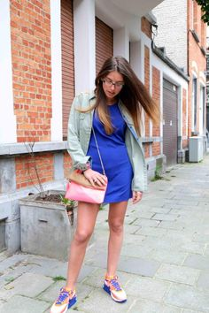Outfit post on the blog wearing my new Air Max Hyperfuse   http://www.nikevintage.xyz/26967692.html    F21 electric blue dress  Zara shirt  H bag  Nike air max hyperfuse sneakers