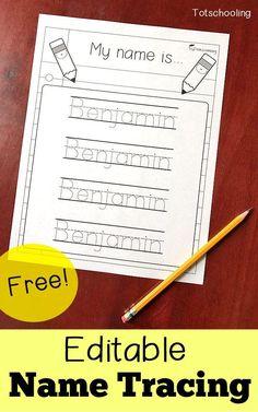 FREE Editable Name Tracing Printable   Homeschool Giveaways