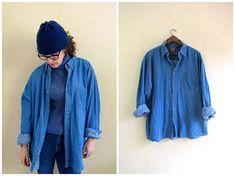 90s Jean Shirt Worn In Denim Shirt Button Up Oversized