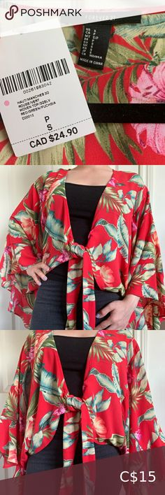 """Forever 21 Floral Kimono/Pullover Brand new with tags! Forever 21 floral/tropical red kimono/pullover *flowy* long-sleeved top. It's an open top that ties at the front. Perfect as a beach cover up or to wear over a tank top.   100% polyester Size: S Brand: Forever 21 Length from shoulder down: 19"""" Sleeves: 14"""" across & 14"""" down Forever 21 Tops Blouses Floral Kimono, Kimono Top, Forever 21 Red, Plus Fashion, Fashion Tips, Fashion Trends, Red Green, Long Sleeve Tops, Ties"""