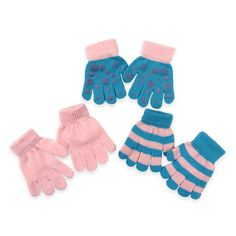 Toby Toddler 3-Pack Snowflake Graphic Gripper Glove in Blue/Pink