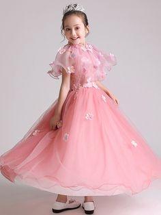 d6850e6b8722 Flowers Stand Collar Sleeveless Long Dress · Cute Little Girl ...