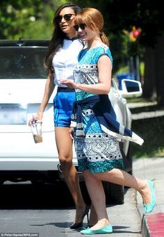 Gleeful get together: Dianna Agron had lunch with Naya Rivera in Hollywood, on Thursday