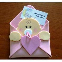 Risultati immagini per hacer invitaciones para bautizo Baby Shower Crafts, Baby Crafts, Baby Shower Parties, Felt Crafts, Baby Boy Shower, Diy And Crafts, Moldes Para Baby Shower, Shower Bebe, Baby Shawer