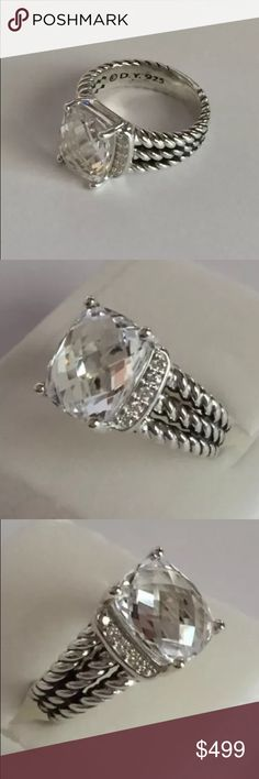 Authentic David Yurman Petite Wheaton topaz ring Authentic David Yurman petite Wheaton ring. This is a size 4.5. The stone is white topaz and there are diamonds on each side. This was too small for me. David Yurman Jewelry Rings