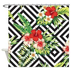 Tropical Flowers Black & White Geom Shower Curtain on CafePress.com
