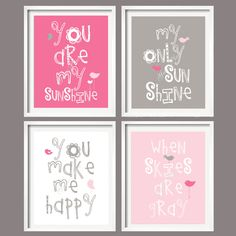 Nursery Print - You Are My Sunshine - Pink and Grey - 5x7 wall art, baby shower gift, boy and girl colors. $39.95, via Etsy.