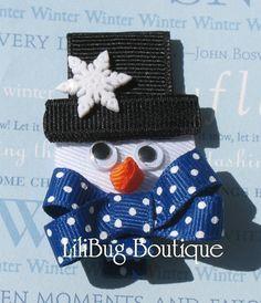 LiliBug Frosty the Winter Snowman Hair Clip LiliBug Frosty the Winter Boneco de neve grampo de cabelo Hair Ribbons, Diy Hair Bows, Diy Bow, Bow Hair Clips, Ribbon Art, Ribbon Crafts, Ribbon Bows, Grosgrain Ribbon, Christmas Hair Bows