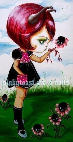 Little Devil and her Fairy Tale Garden-Pinkytoast Print #art