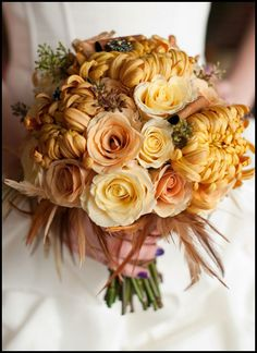 Golden Wedding Bouquet of Roses, Chrysanthemums, and accented with Feathers