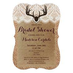 Rustic Burlap Deer Antlers Bridal Shower Invitations for a hunting theme wedding #countrywedding #wedding