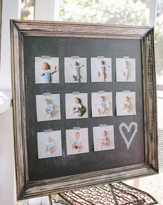 Simple, modern first birthday picture display