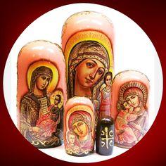 Orthodox Icons 5 Piece Russian Nesting Doll in Pink #Russiantoy #Russiandoll #nesteddoll #lacquerbox #Russianbox #nestingdolls #babooshkadoll #matryoshka #Woodendolls #nestingdoll #dollindoll #Russiangifts #stackingdoll #babushka Church Icon, Icon 5, Unique Gifts For Kids, Orthodox Icons, Wooden Dolls, Great Christmas Gifts, Pink, Yellow, Pink Hair