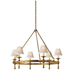 "$1,155- CLASSIC RING CHANDELIER- Fixture Height: 28"" * Minimum Overall Height: 34"" Width: 33 1/4"" Canopy: 5 3/4"" Chain: Ships WIth 6 ft of Chain Shade Size: 3"" x 6 1/2"" x 5"" Wattage: 6 - 60 Watt Type B Socket: Candelabra"