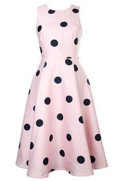 Graceful Round Neck Sleeveless Polka Dot A-Line Women's Summer Dress Summer Dresses | RoseGal.com Mobile
