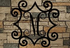 "Large Single Metal Initial Vine Monogram  With Wrought Iron Inspired Scroll Border 32""-48"", Wall Hanging, Fireplace, Indoors, Outdoors"