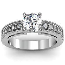 Milgrain & Pavé Set Engagement Ring in 18k White Gold