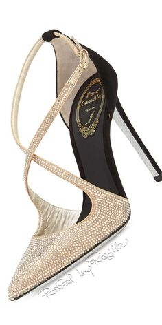 Rene Caovilla Crystal Cross Strap d & # Orsay Pumps Oyster 2015 - Shoes - Zapatos Ideas Fab Shoes, Pretty Shoes, Dream Shoes, Beautiful Shoes, Me Too Shoes, Shoes Heels, Stilettos, High Heels, Kinds Of Shoes