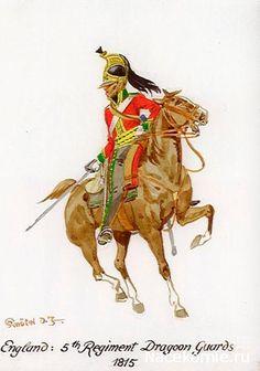 SOLDIERS- Knötel: NAP- Britain: British 5th Regiment of Dragoons Guards 1815, by Knötel.