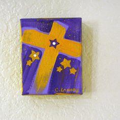 Gold Acrylic Cross Painting by CarolLandryfineart on Etsy, $29.00